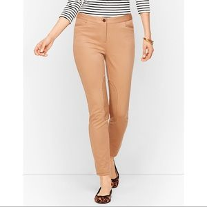 Talbots Skinny Ankle Pants With Faux Suede Patch Tan Camel Size 8